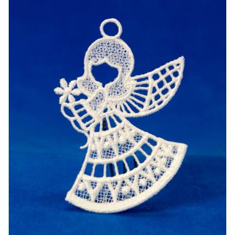 Vánoční ozdoba anděl s kytkou 2D