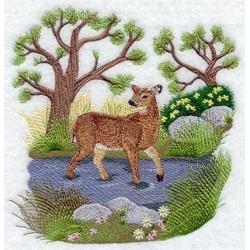 jelen v jarní krajině