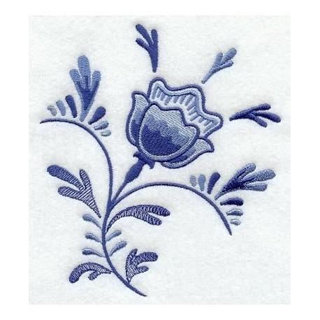 tulipán - vzor delftské modré keramiky