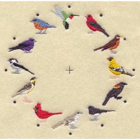 ciferník s ptáky