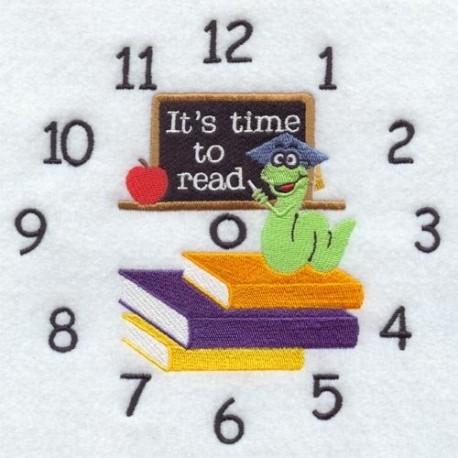 ciferník s učebnicemi