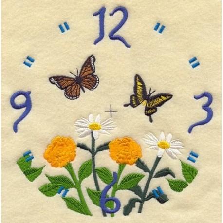 ciferník s motýli a květy