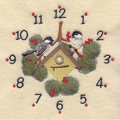 ciferník s ptáky a ptačí budkou