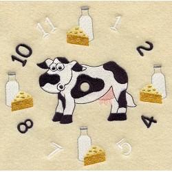 ciferník s krávou a mlékem