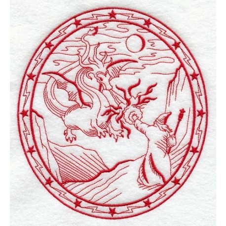 kouzelník a drak - obrys