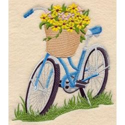 bycikl a koš květin