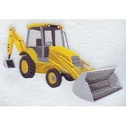traktor s rypadlem a radlicí